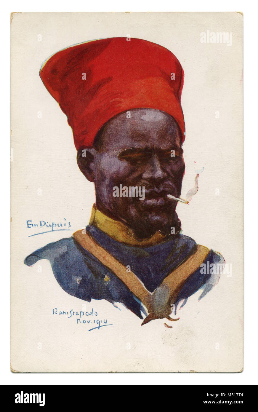 Old French postcard Senegalese shooter colonial troops in the red traditional hat smoking cigarette. The first world - Stock Image