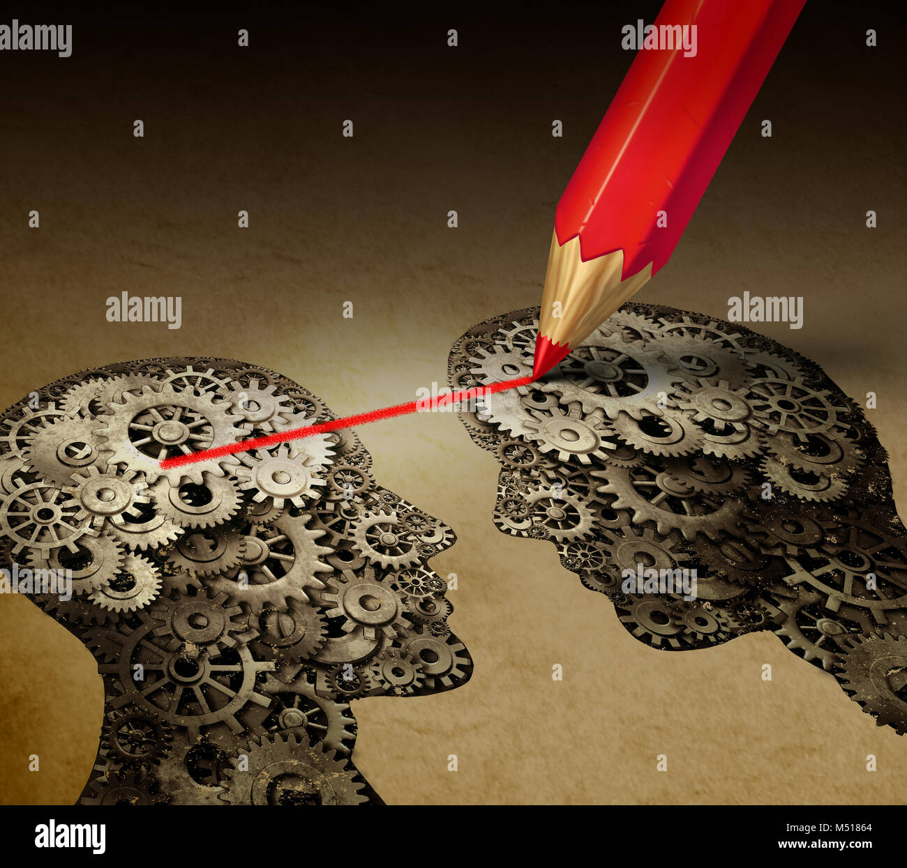 Brain telepathy and mind reading psychology or mental connection concept as telepathic people symbols connected - Stock Image