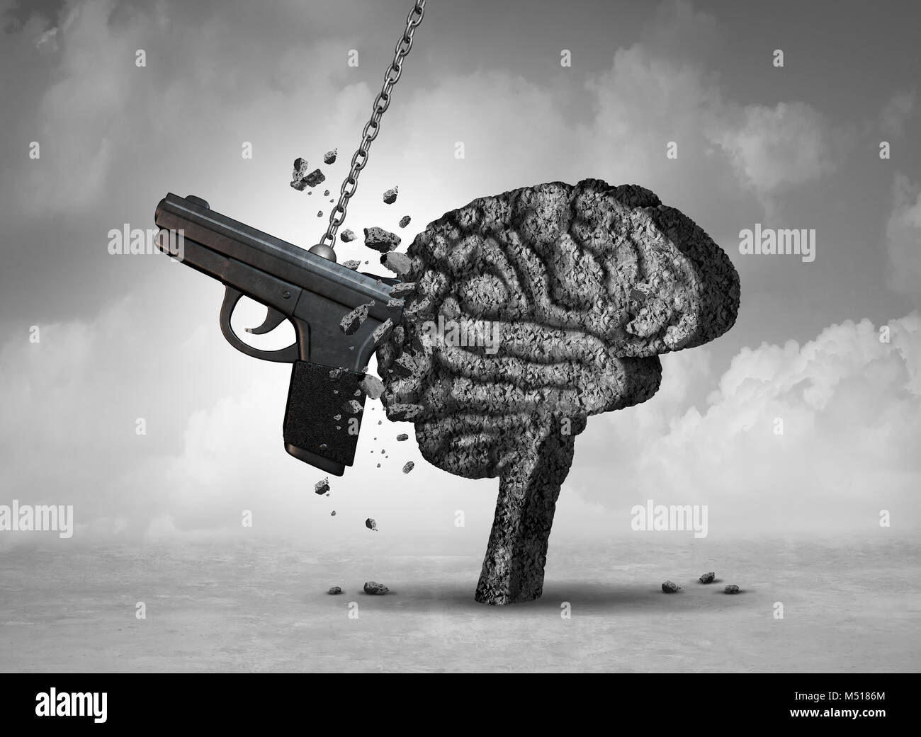 Gun violence and mental illness health concept as a psychiatric brain disorder risk with 3D illustration elements. - Stock Image