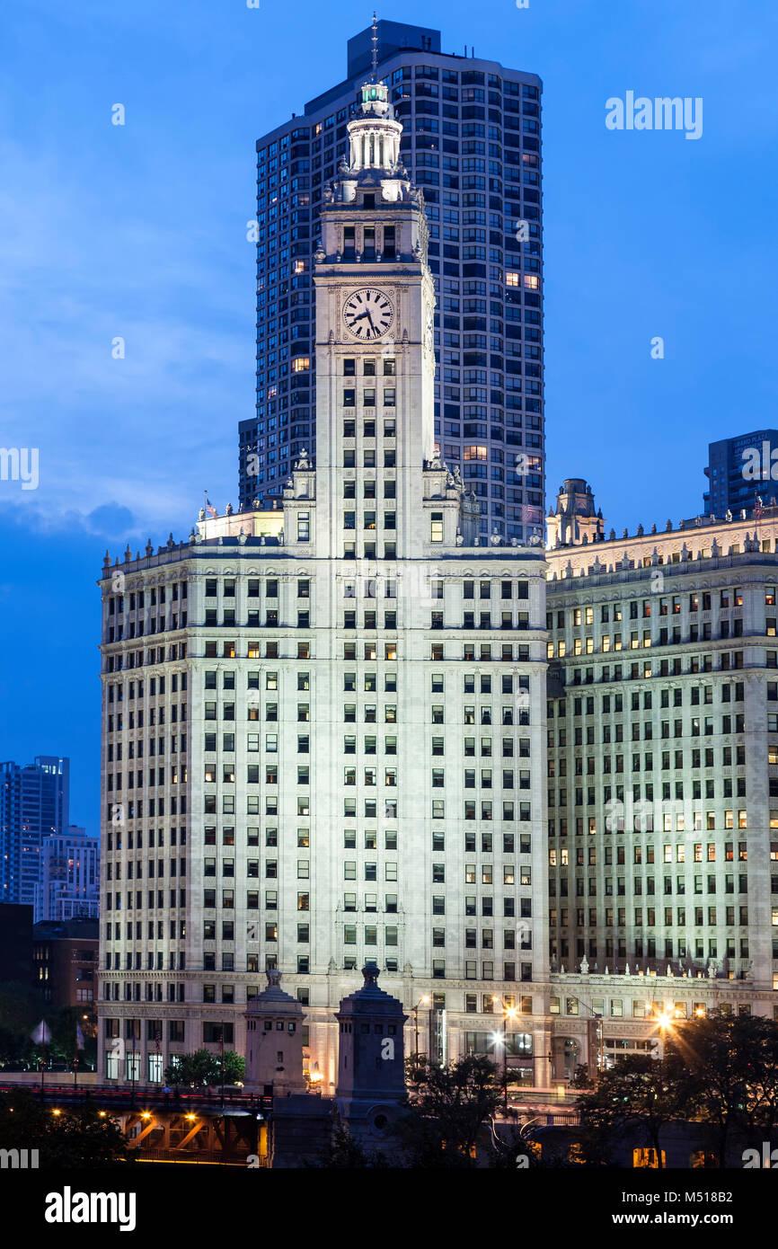 Wrigley Tower, Chicago, Illinois USA - Stock Image