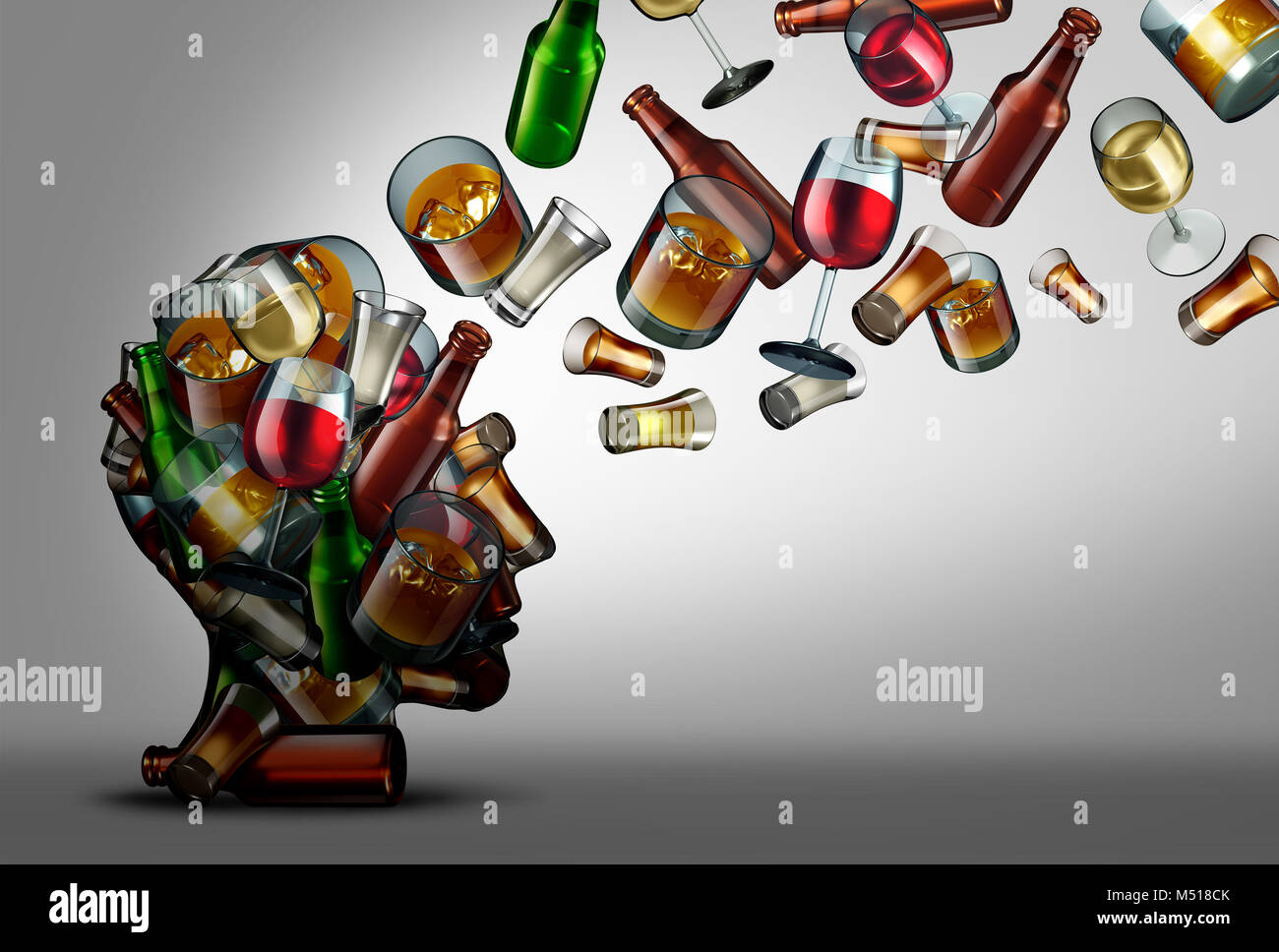 Alcohol education and awareness of the risk or dangers of drink consumption as a 3D illustration. - Stock Image