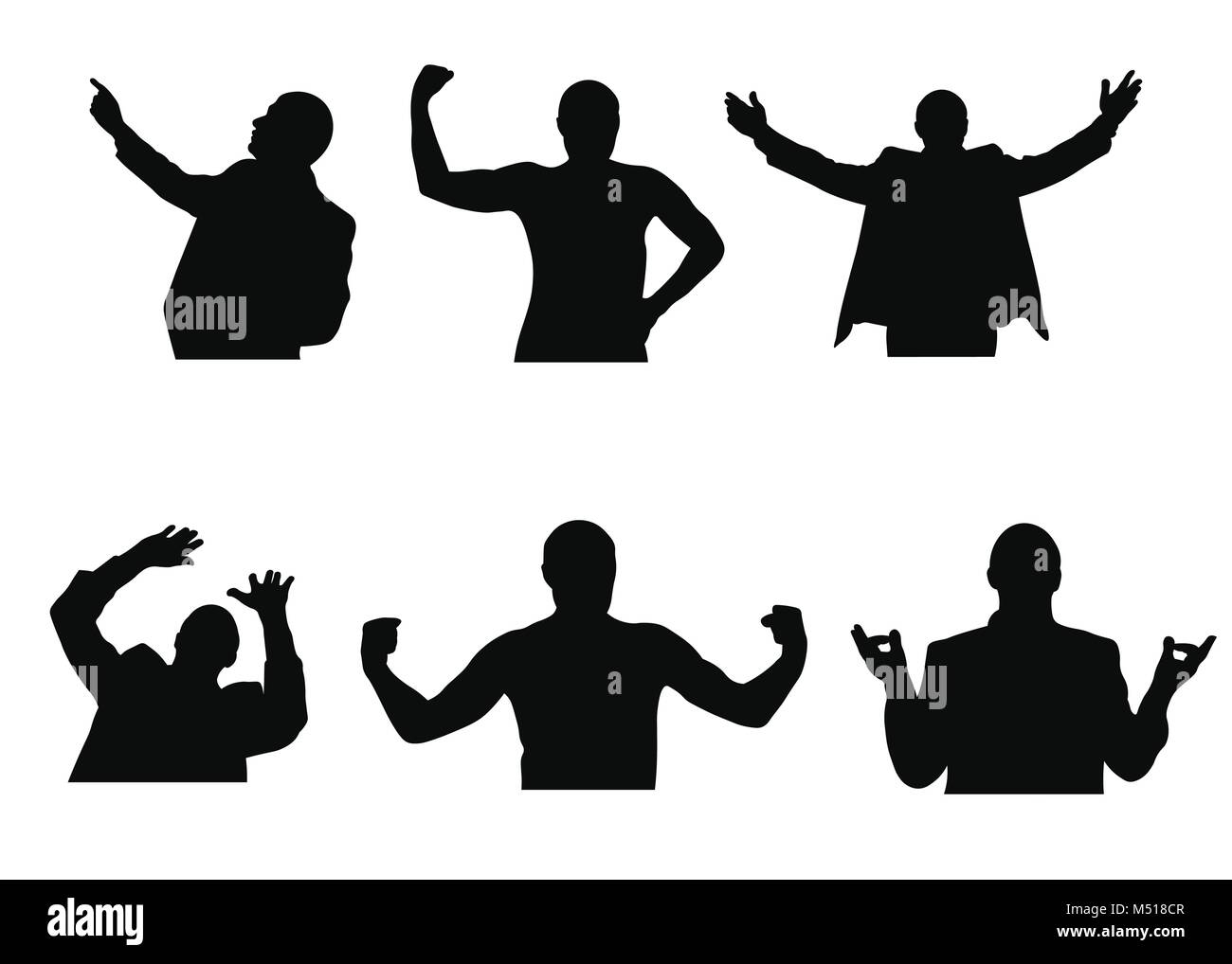 Set of silhouettes of man looking up, meditating, welcoming, having fear and showing muscles - Stock Vector