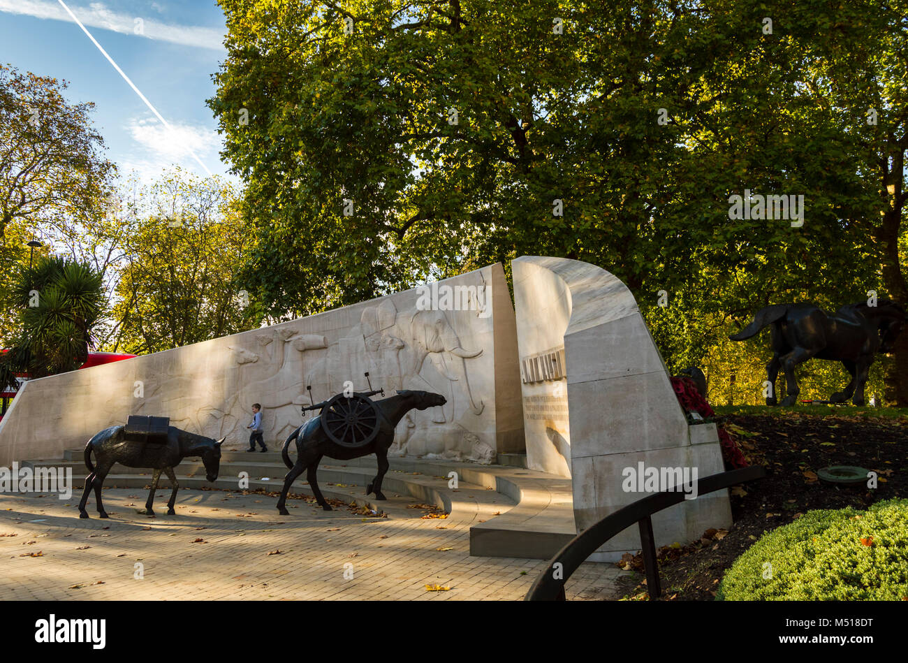London, ENGLAND - October 25 2017: The Animals in War memorial located on Park Lane. The monument commemorates all - Stock Image