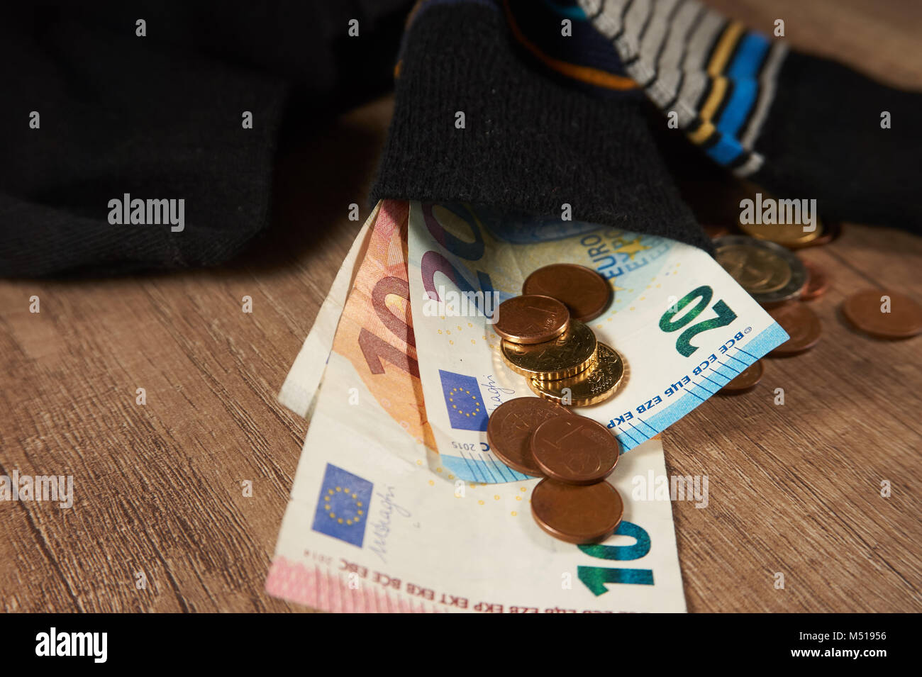 Hiding money in socks is an insecure investment - Stock Image