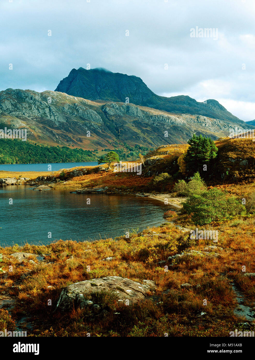Across a corner of Loch Maree to Slioch, Wester Ross, Highland, Scotland - Stock Image