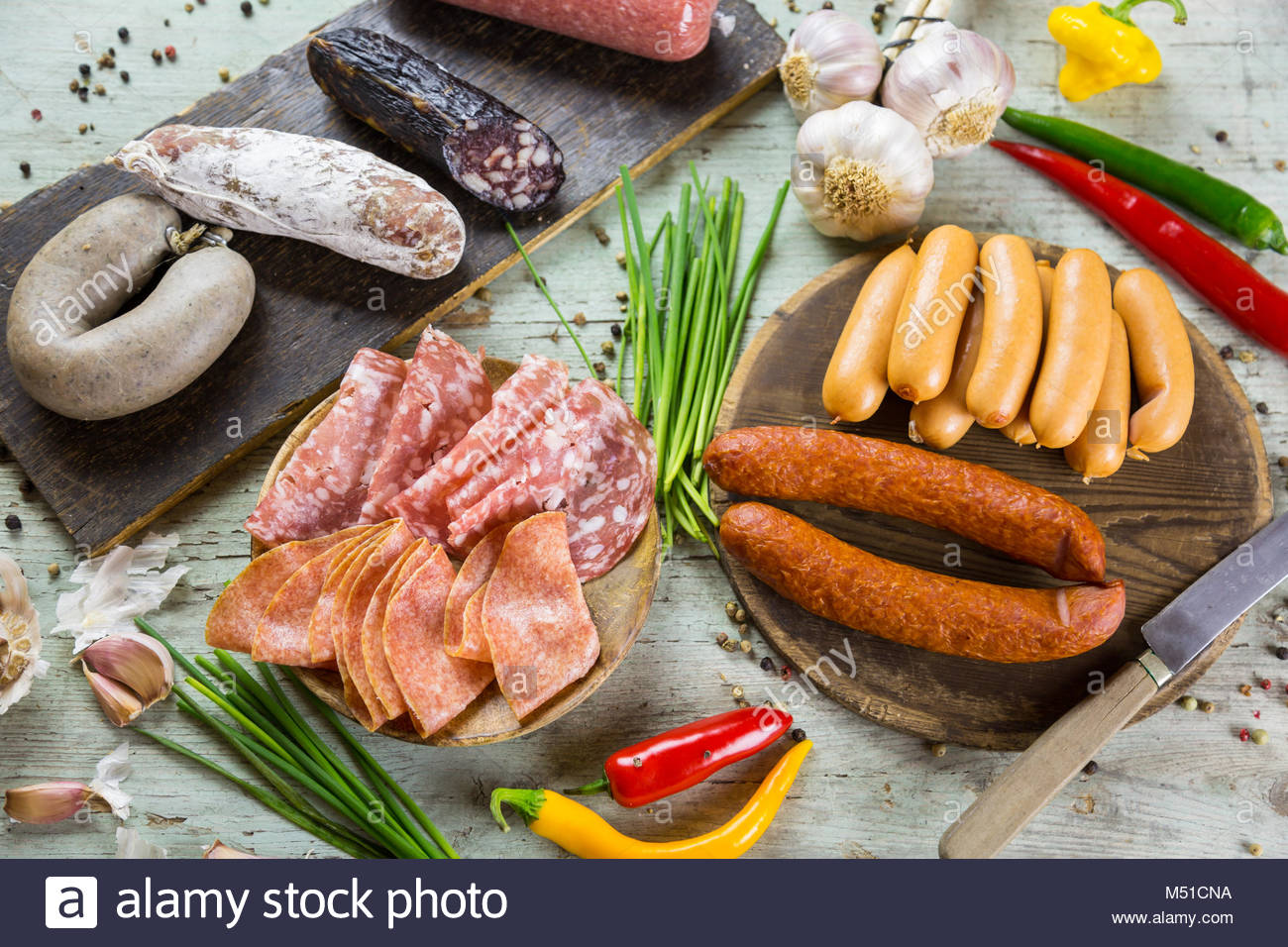 Assorted smoked and cured spicy sausages Stock Photo