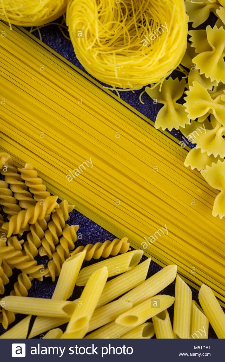 Large assortment of dried Italian pasta - Stock Image