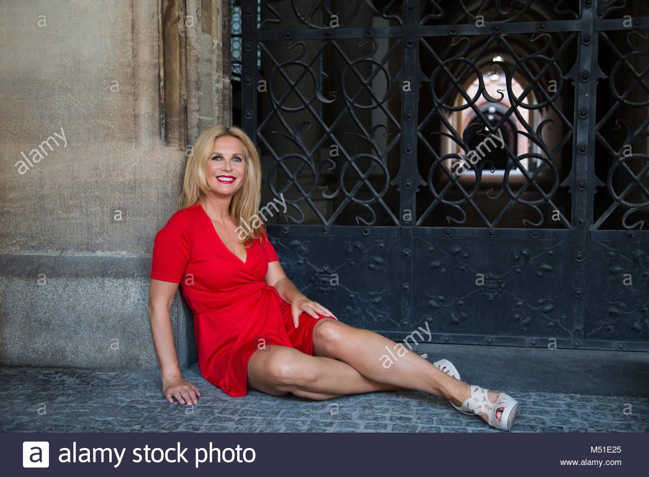 Mature in red stockings dap