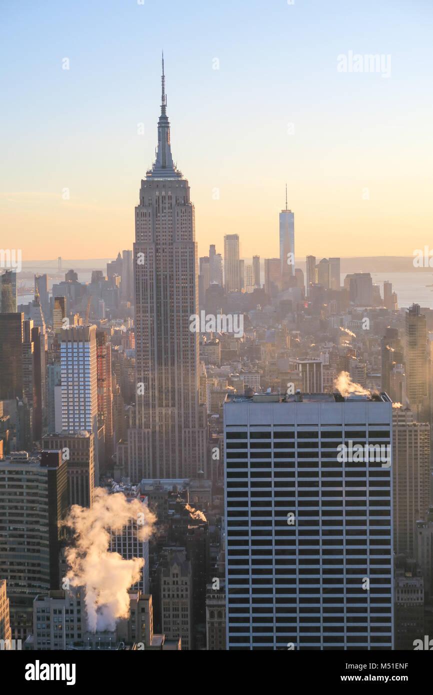 New York City Skyline in Sunset Stock Photo