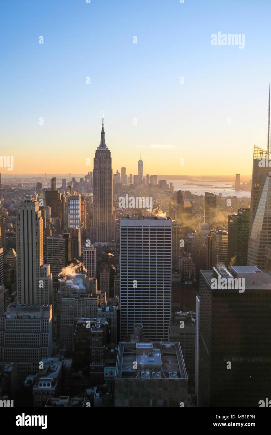 New York City Skyline in Sunset - Stock Image