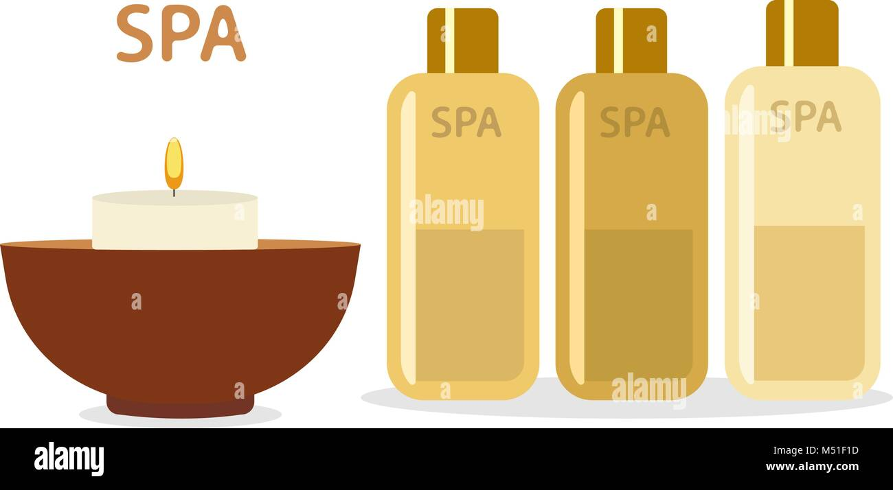 Spa therapy and beauty vector illustration. Set of spa goods bowl, candle, bottles with aromatic oil, - Stock Vector