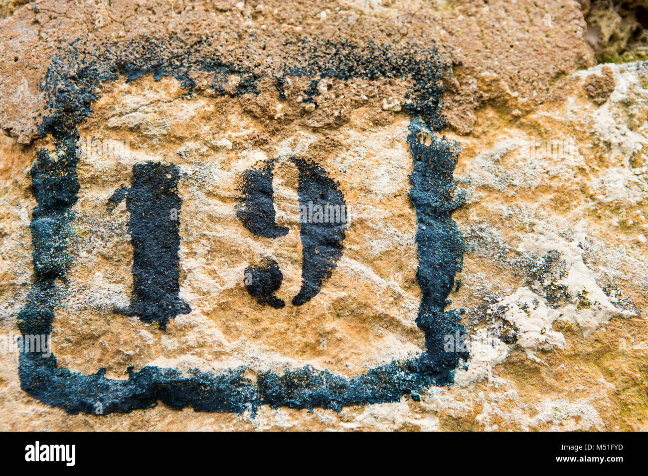 number 19 on a wall - Stock Image