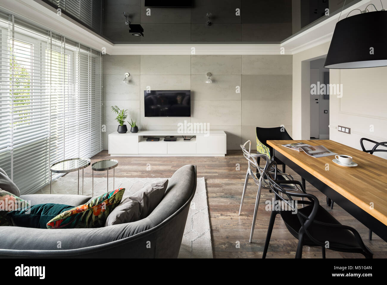 Tv Living Room With Modern Sofa Wooden Table And Black