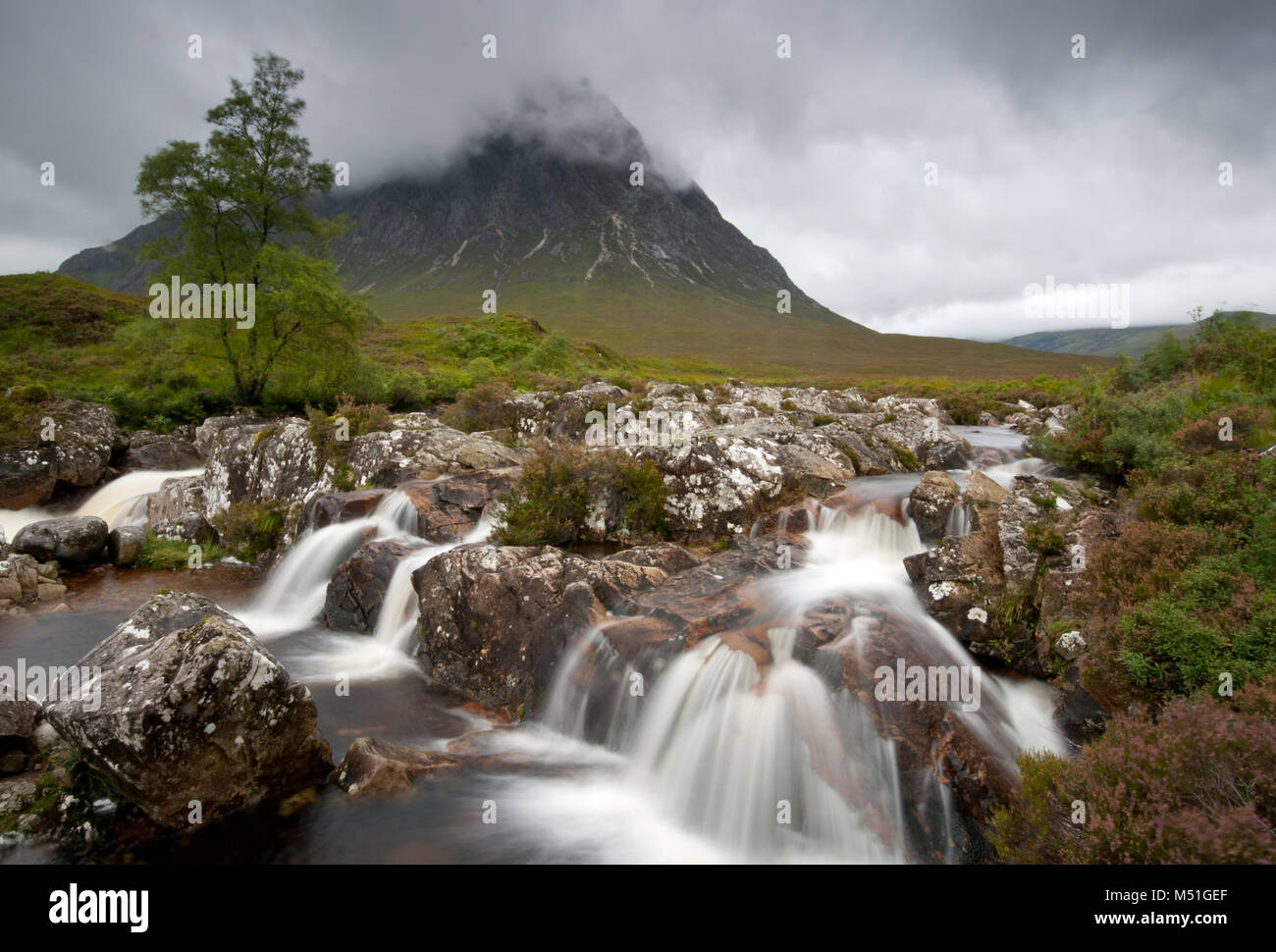 Landscape from Glencoe area in Scotland, Scottish highlands. The mountain is the famous Buachaille Etive Mor - Stock Image