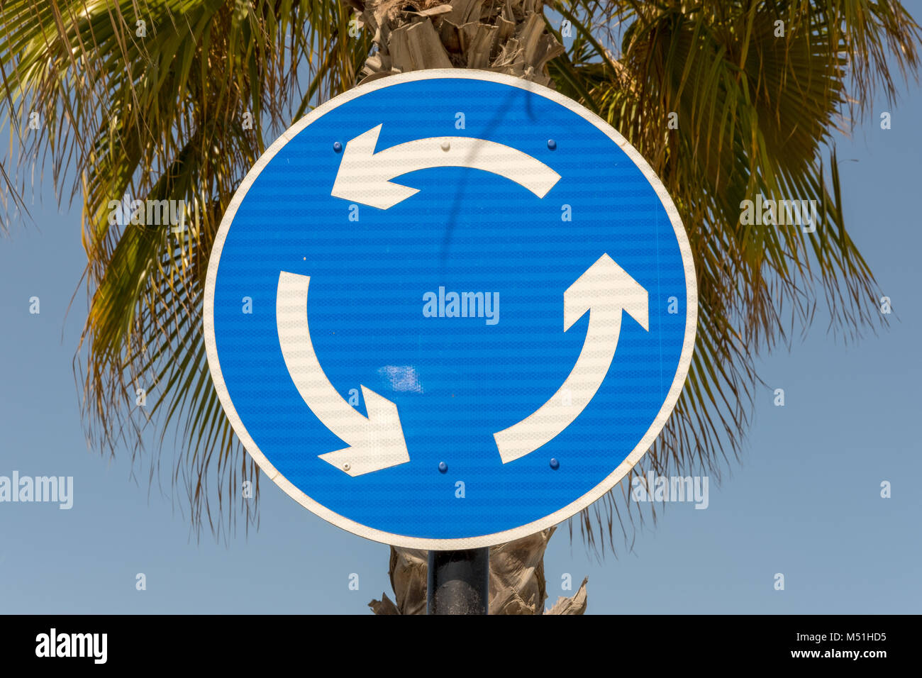 Roundabout Sign, Turn Back, Road ends - Stock Image