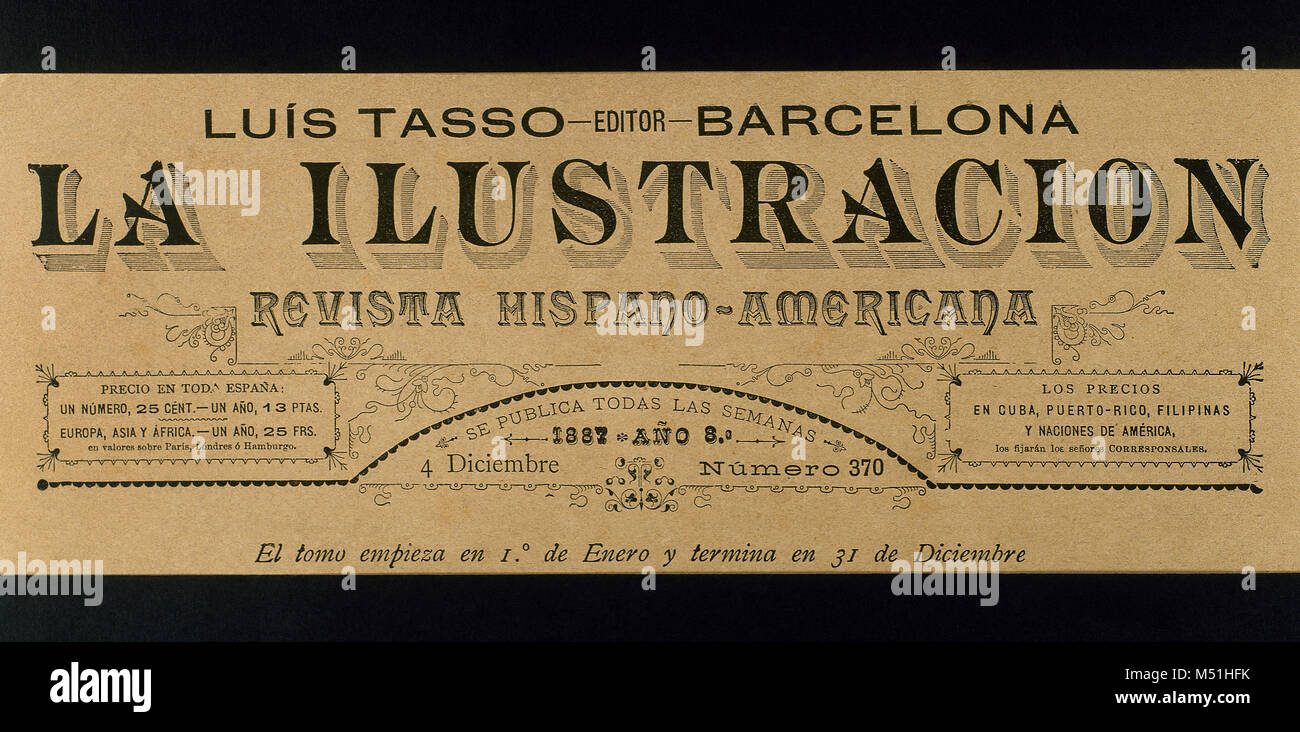 La Ilustración. Revista Hispano-Americana. Header of issue nr. 370, 4th December, 1887. - Stock Image