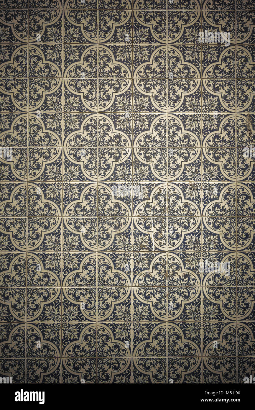 Vintage azulejos, traditional Portuguese tiles Stock Photo