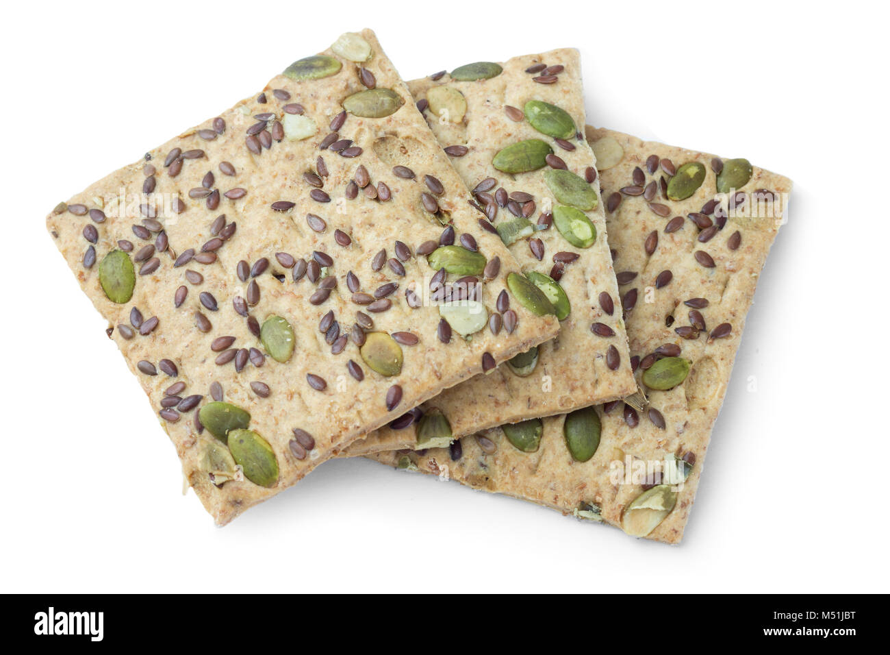 Sugar-free cookies with pumpkin seeds on a white background, diabetic food Stock Photo