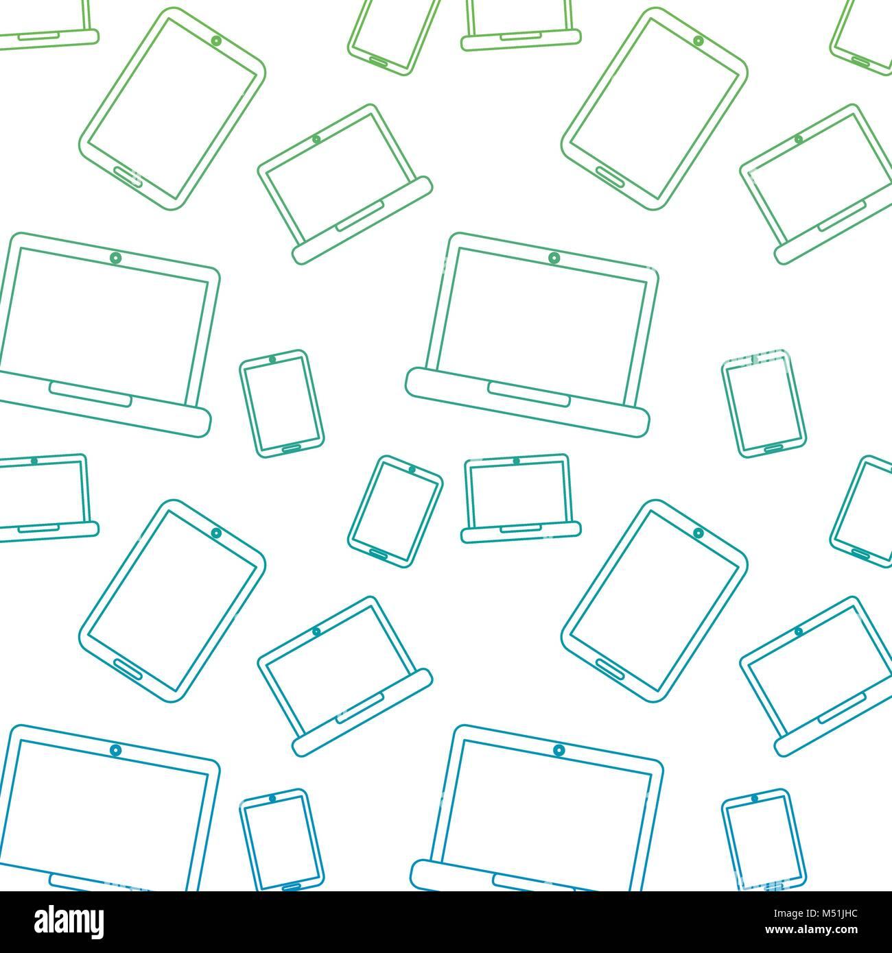laptop smartphone device technology seamless pattern Stock Vector