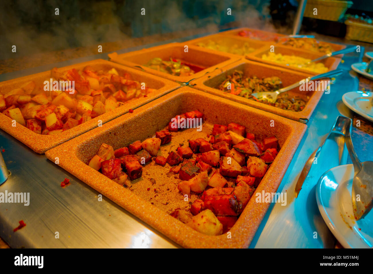 Delicious Food Inside Of Plastic Trays Served At Traditional Mayan