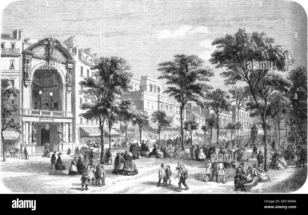 The Théâtre Historique on the Boulevard du Temple, not long before the theatres on boulevard were demolished - Stock Image