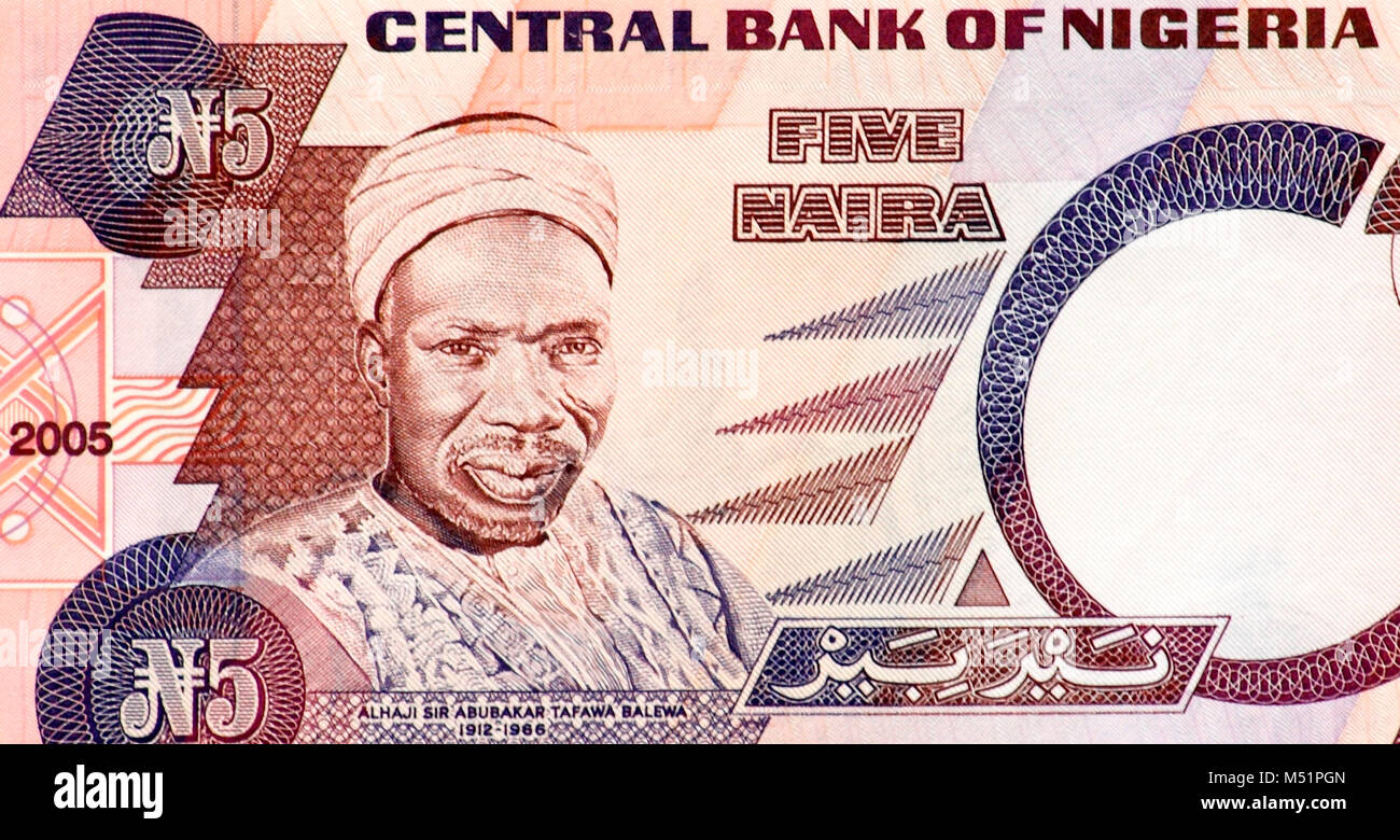 Nigeria Five 5 Naira Bank Note Stock Photo