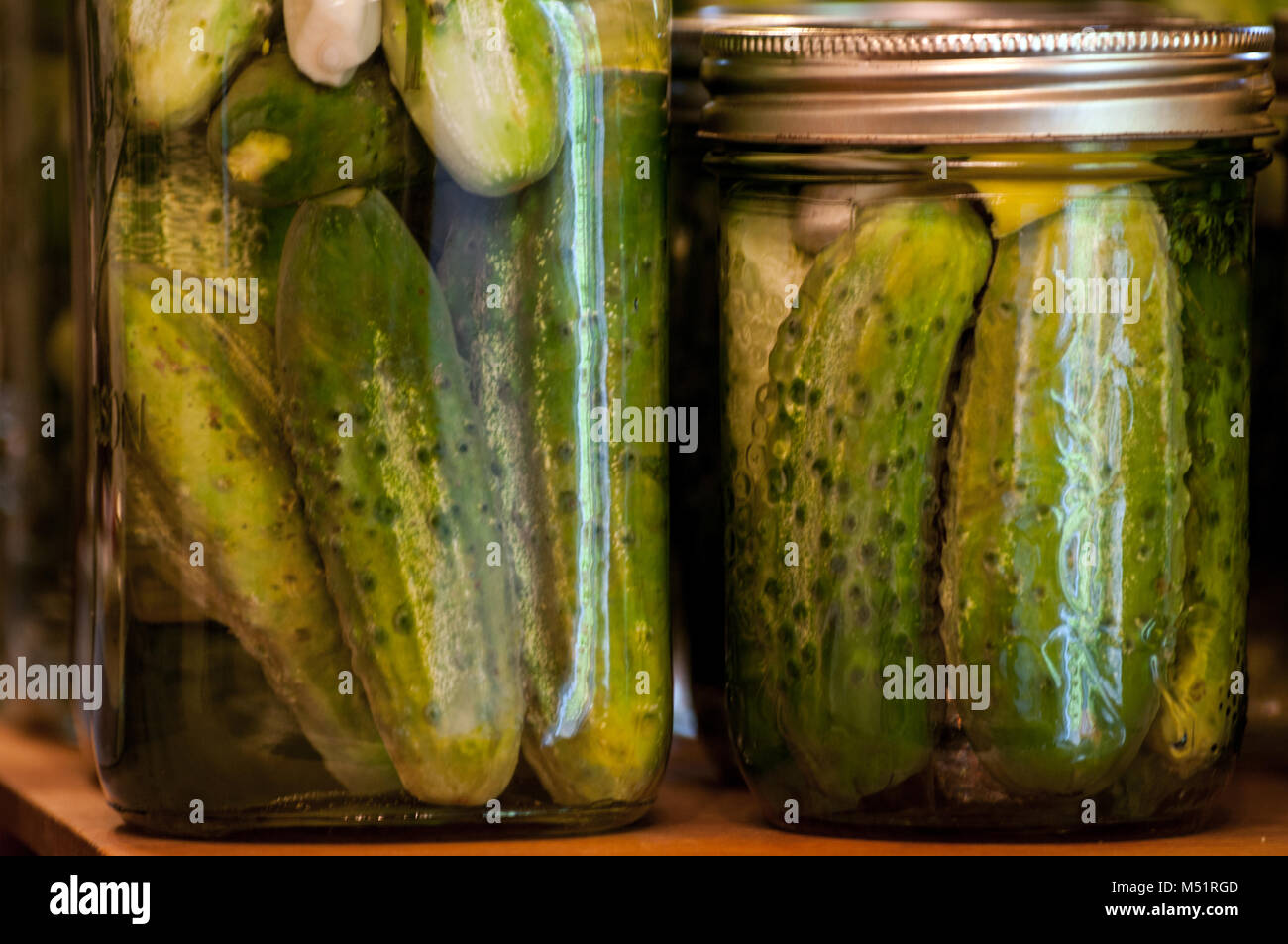 Two bottles of Dill Pickles in a Quart and Pint bottle - Stock Image