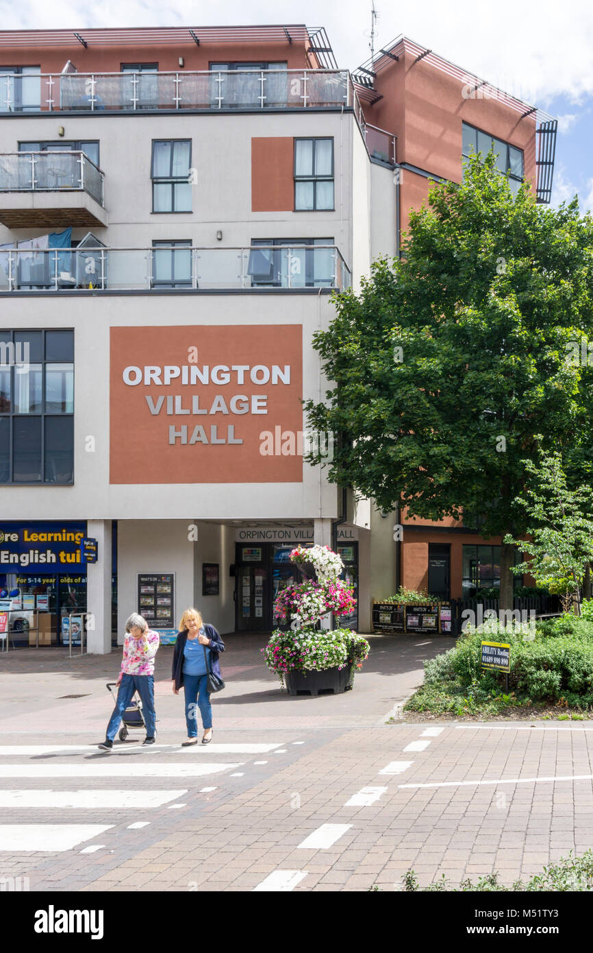 Orpington Village Hall is in a modern bulding on Orpington High Street & contains two halls, a private meeting - Stock Image