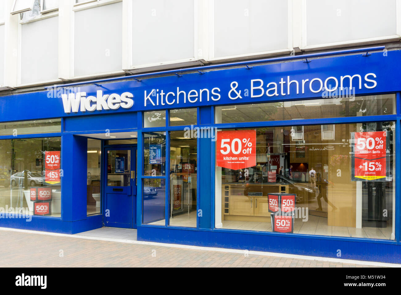 Wickes Kitchens & Bathrooms shop in Orpington High Street. - Stock Image