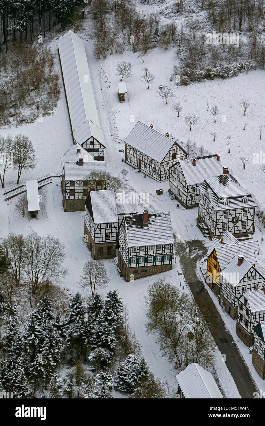 Aerial view, optical fiber open-air museum Hagen im Schnee, Hagen, Ruhr area, North Rhine-Westphalia, Germany, Europe, - Stock Image