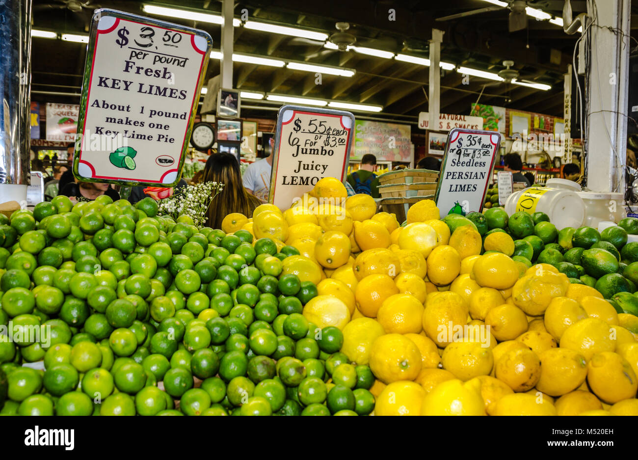Key Lime display at Robert Is Here, popular South Dade farm stand that's equal parts tourist attraction and the Stock Photo