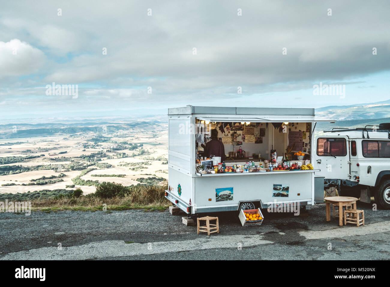 Food truck parked on roadside, Pamplona, Navarre, Spain Stock Photo