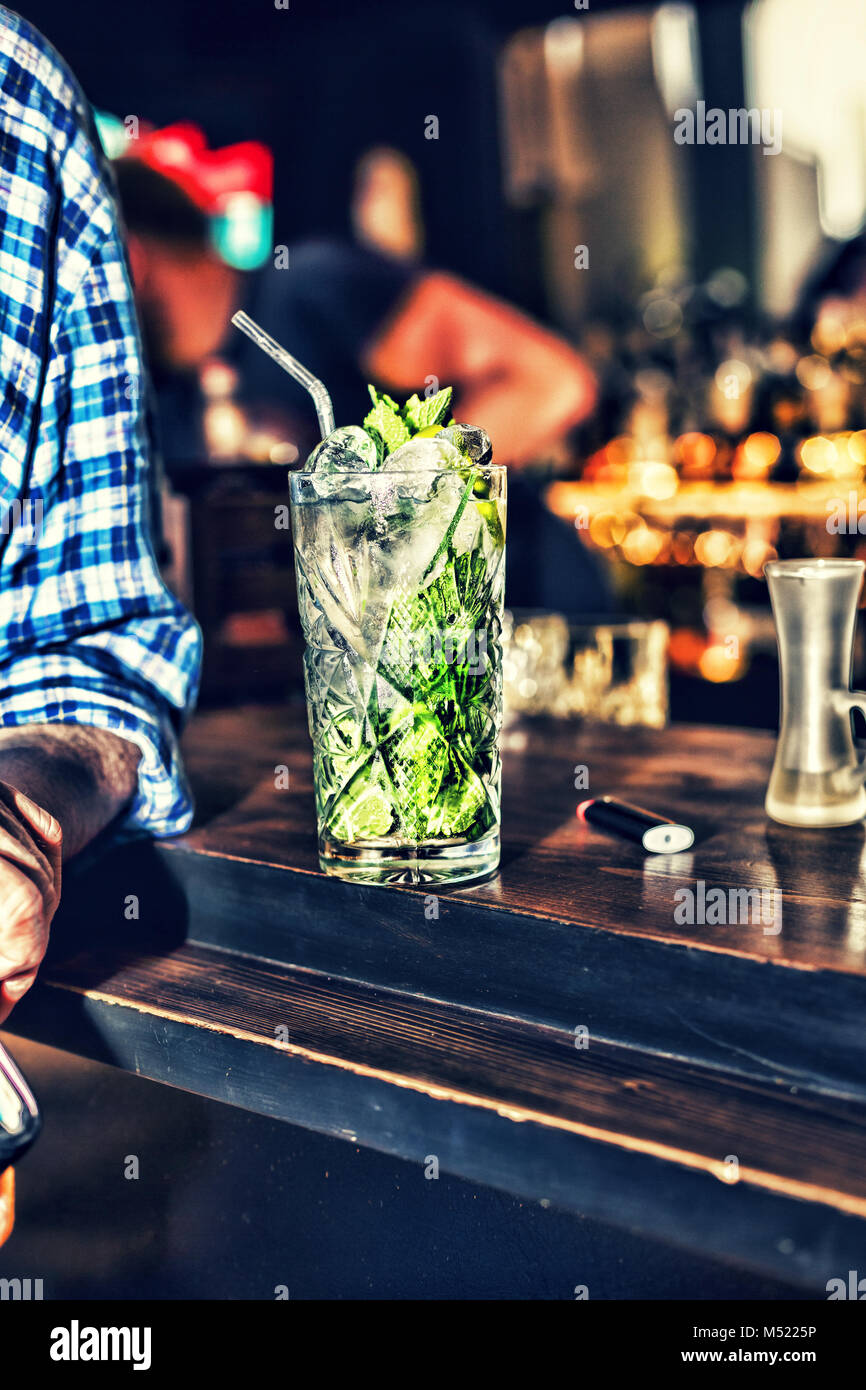 Mojito on the bar drink summer nightclub Stock Photo