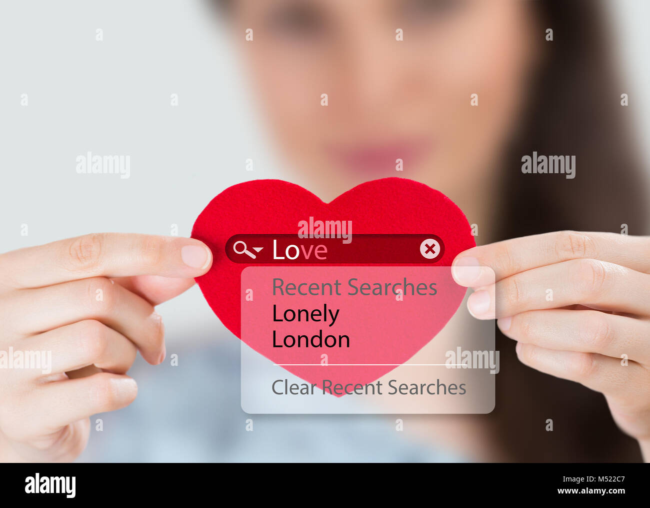 Woman Looking Internet Site With Heart Symbol Stock Photos Woman