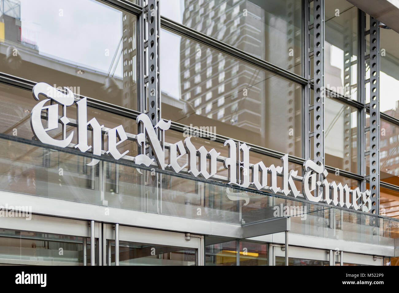 New York Times Headquarters in Manhattan, New York City, USA. The New York Times is an American newspaper based - Stock Image