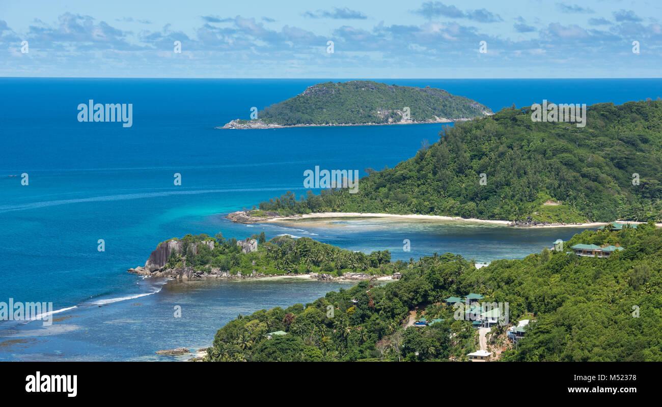 Aerial view of Mahe island coastline, Seychelles - Stock Image