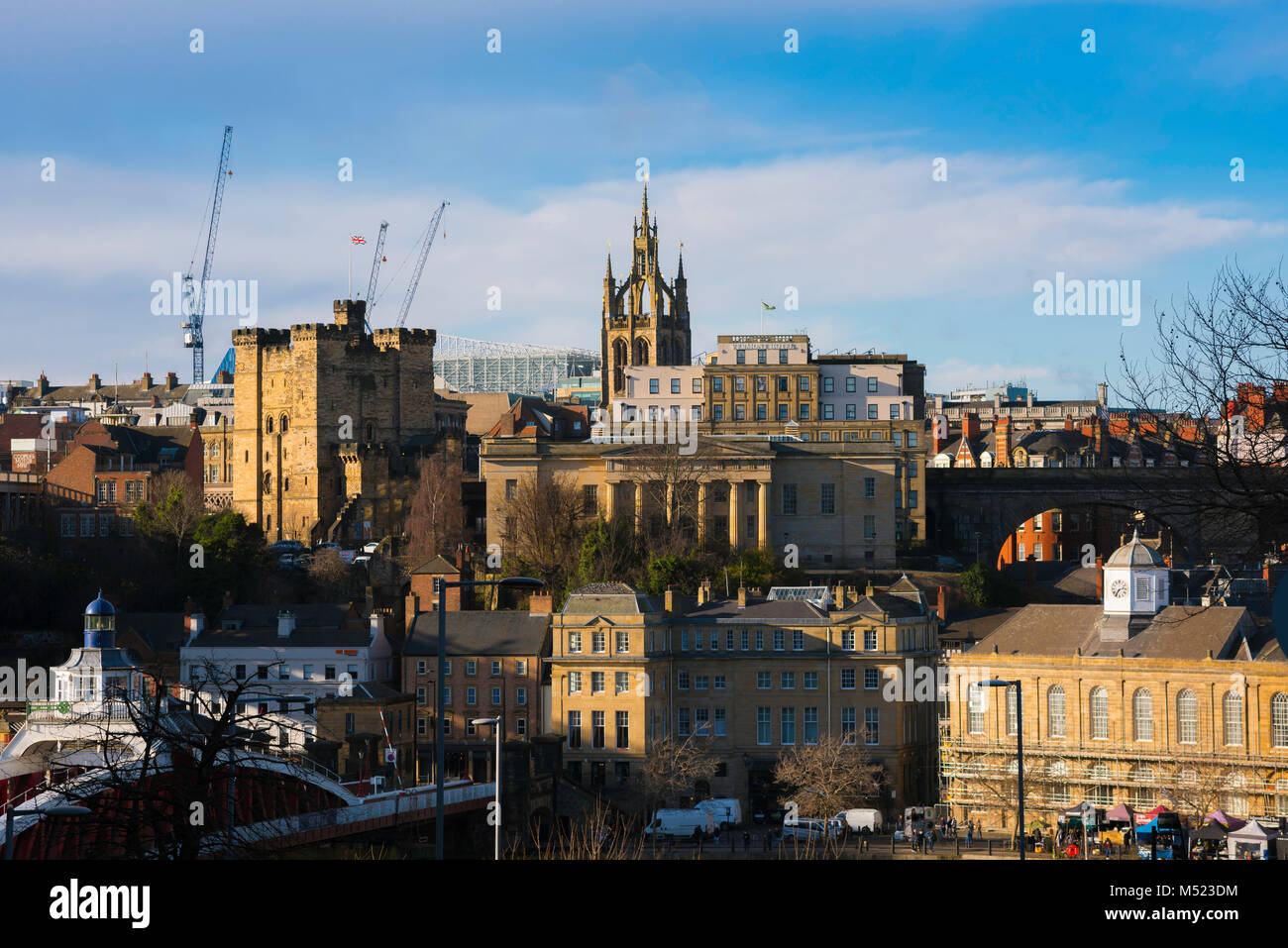 Newcastle upon Tyne cityscape, view of medieval and neoclassical buildings sited on the north bank of the River Stock Photo