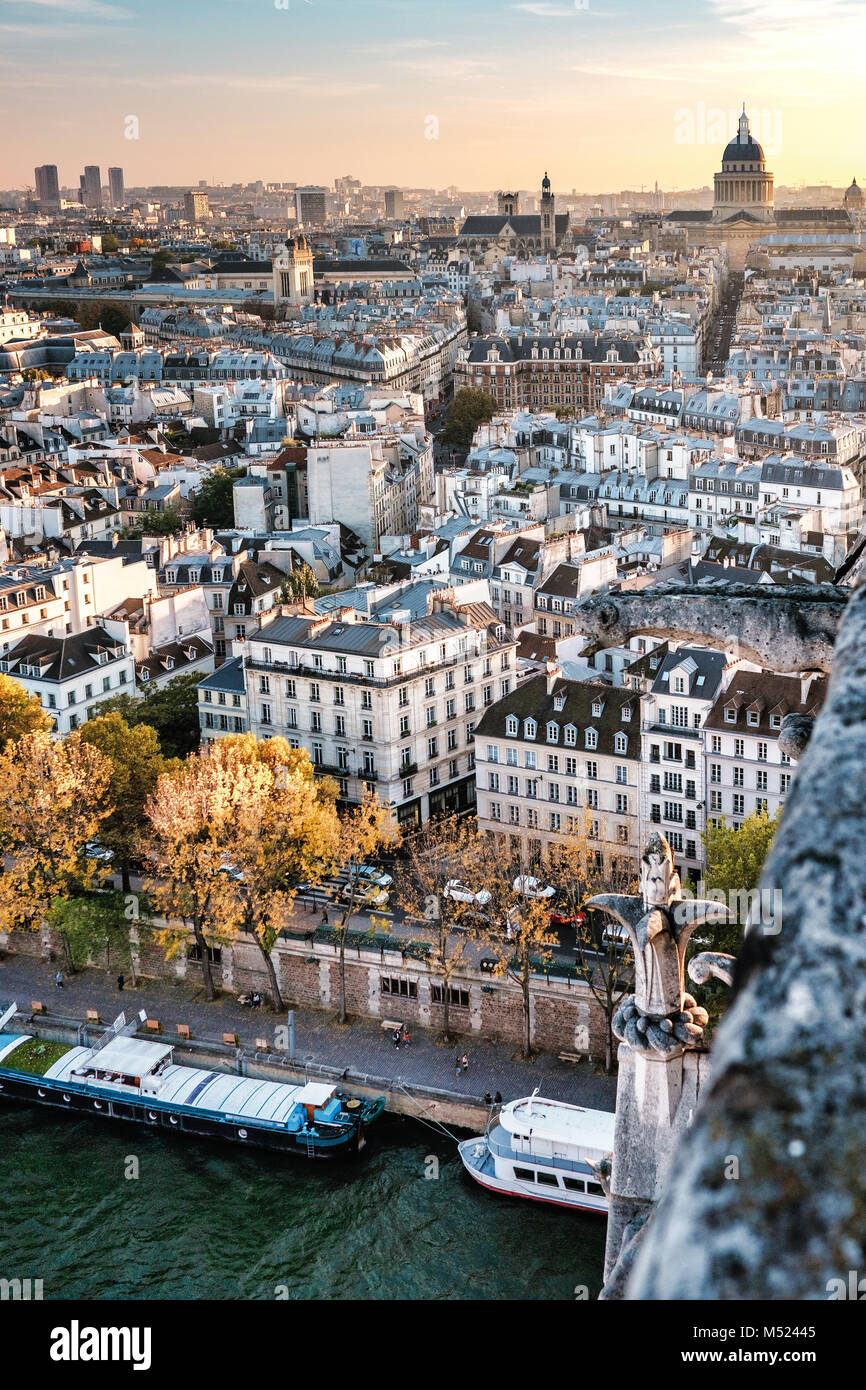 High resolution aerial panorama of Paris, France. The river Seine and autumn colors with blue sky. - Stock Image