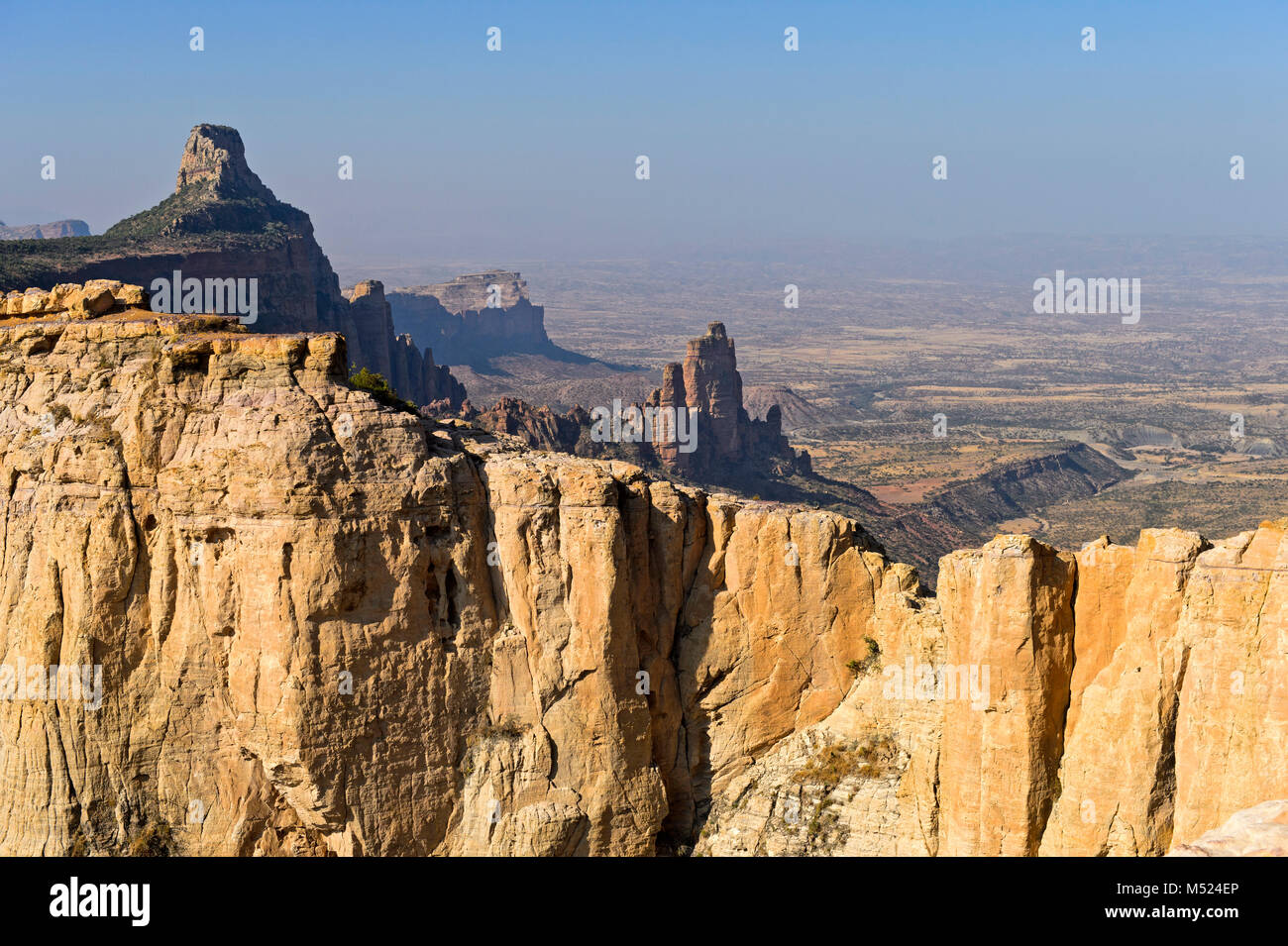 Large African Rift Valley,northern foothills with Koraro rock needles in the Gheralta Mountains,near Hawzien,Tigray,Ethiopia Stock Photo
