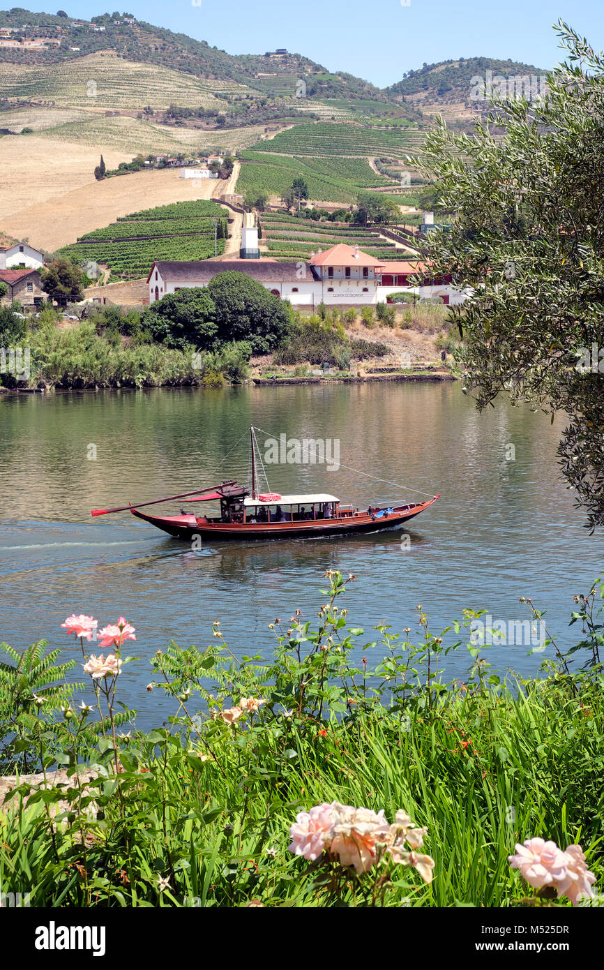 Rabelo boat tour in the Alto Douro Wine Region (with Quinta do Bomfim vineyard i the background), Pinhão, Portugal, Stock Photo