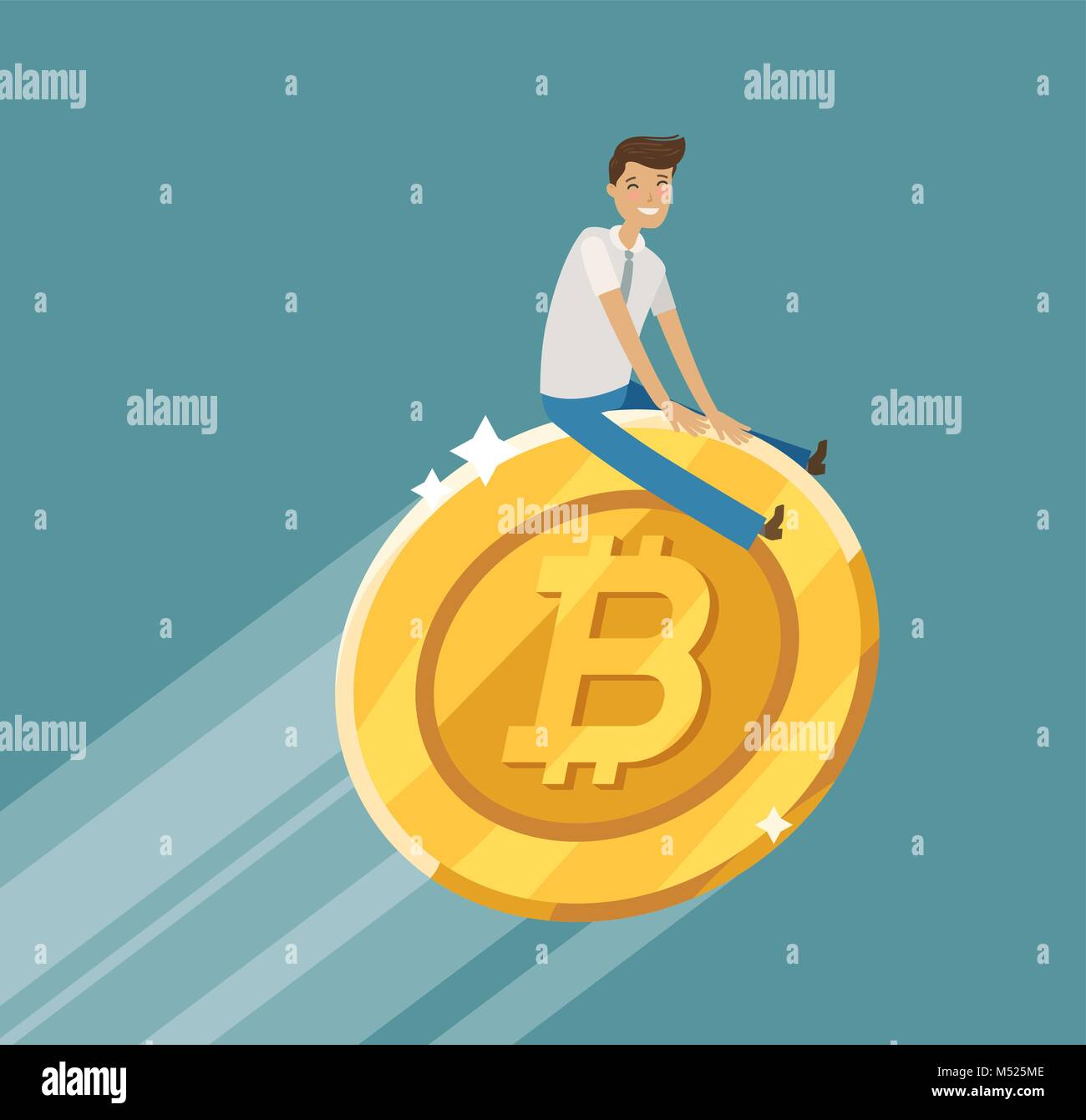 Business concept. Bitcoin crypto currency blockchain. Cartoon vector illustration - Stock Image