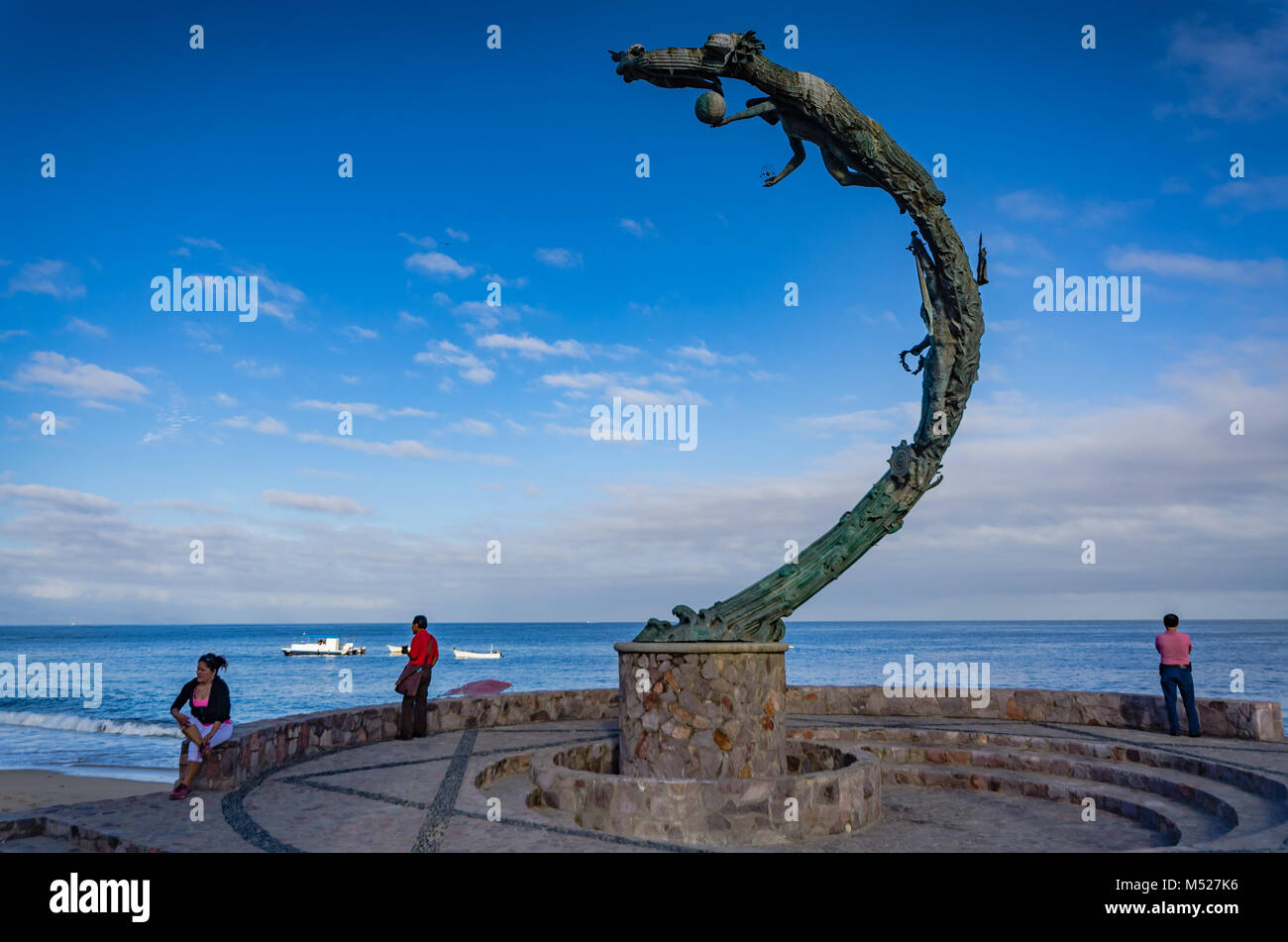 Bronze sculpture by Mathis Lidice, on the Malecon in Puerto Vallarta, Mexico. The  spiralling sculpture represents Stock Photo