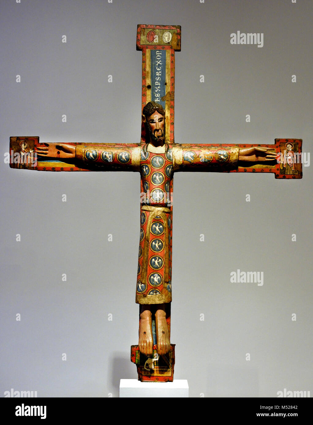 The Majesty of Christ on the cross by Anonymous Catalan Late 12th  century, Spain, Spanish, ( This figure of Christ - Stock Image