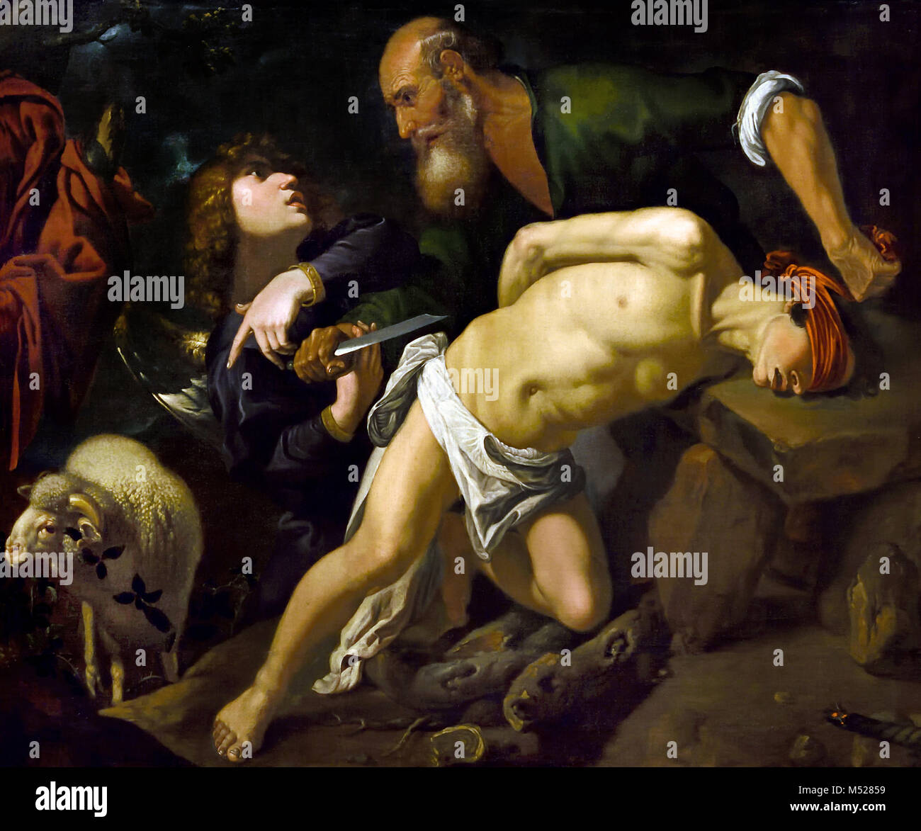 The Sacrifice of Isaac 1616 by Pedro Orrente 1580-1645 17th, century, Spain, Spanish, ( The Binding of Isaac is - Stock Image