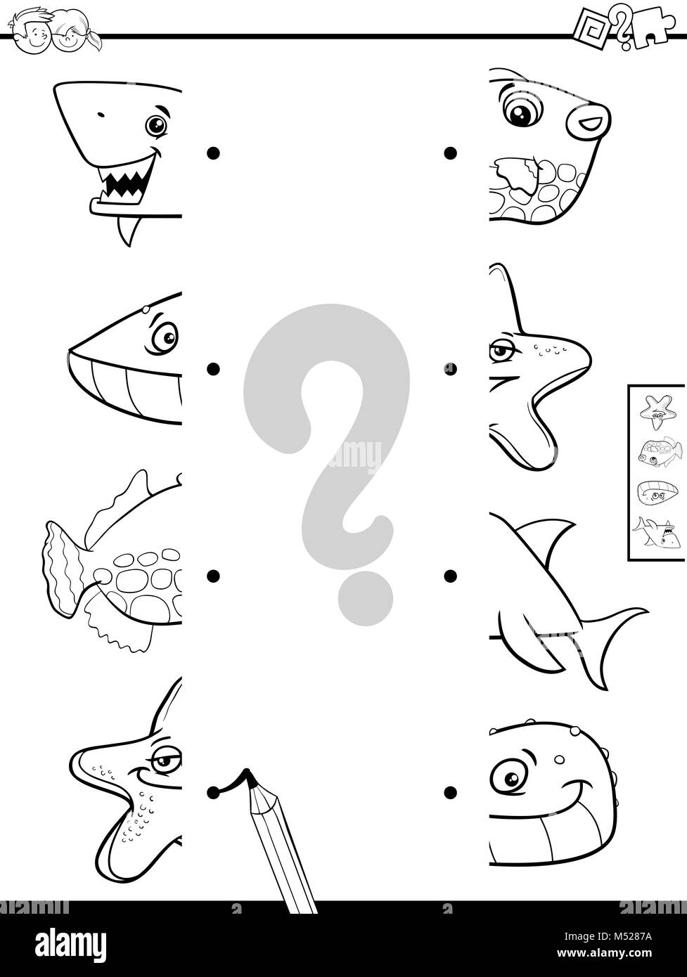 match animal halves coloring book - Stock Image