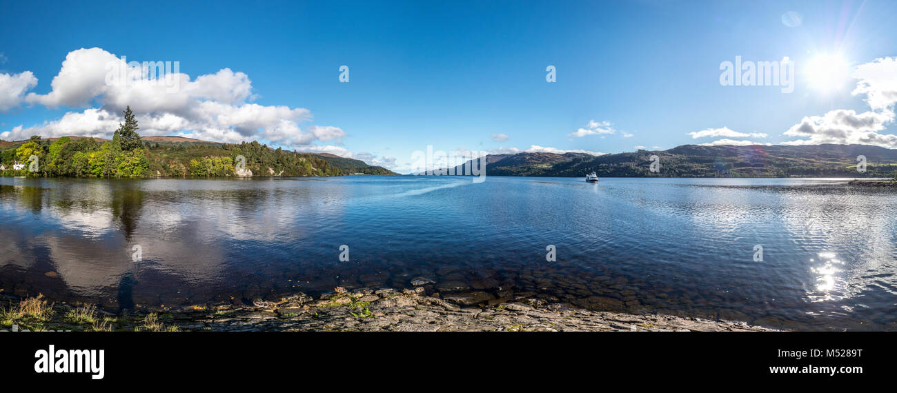 Loch Ness Scotland Panorama with boat - Stock Image