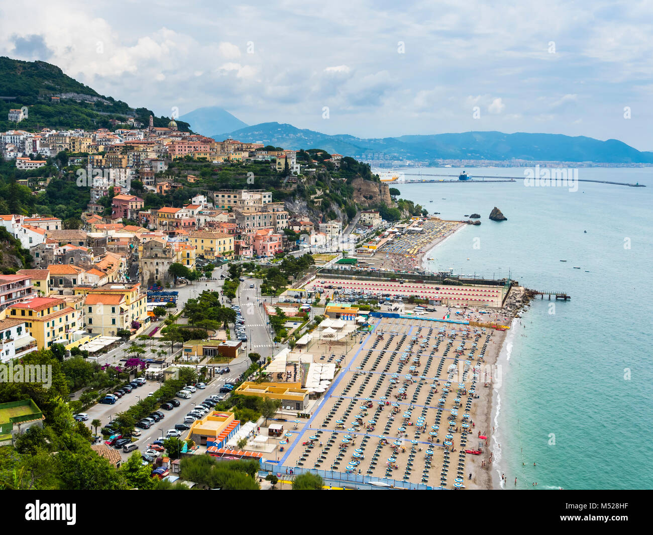 Tourist lido with umbrellas and sunbeds,Vietri sul Mare,province of Salerno,Amalfi Coast,Campania,Italy Stock Photo