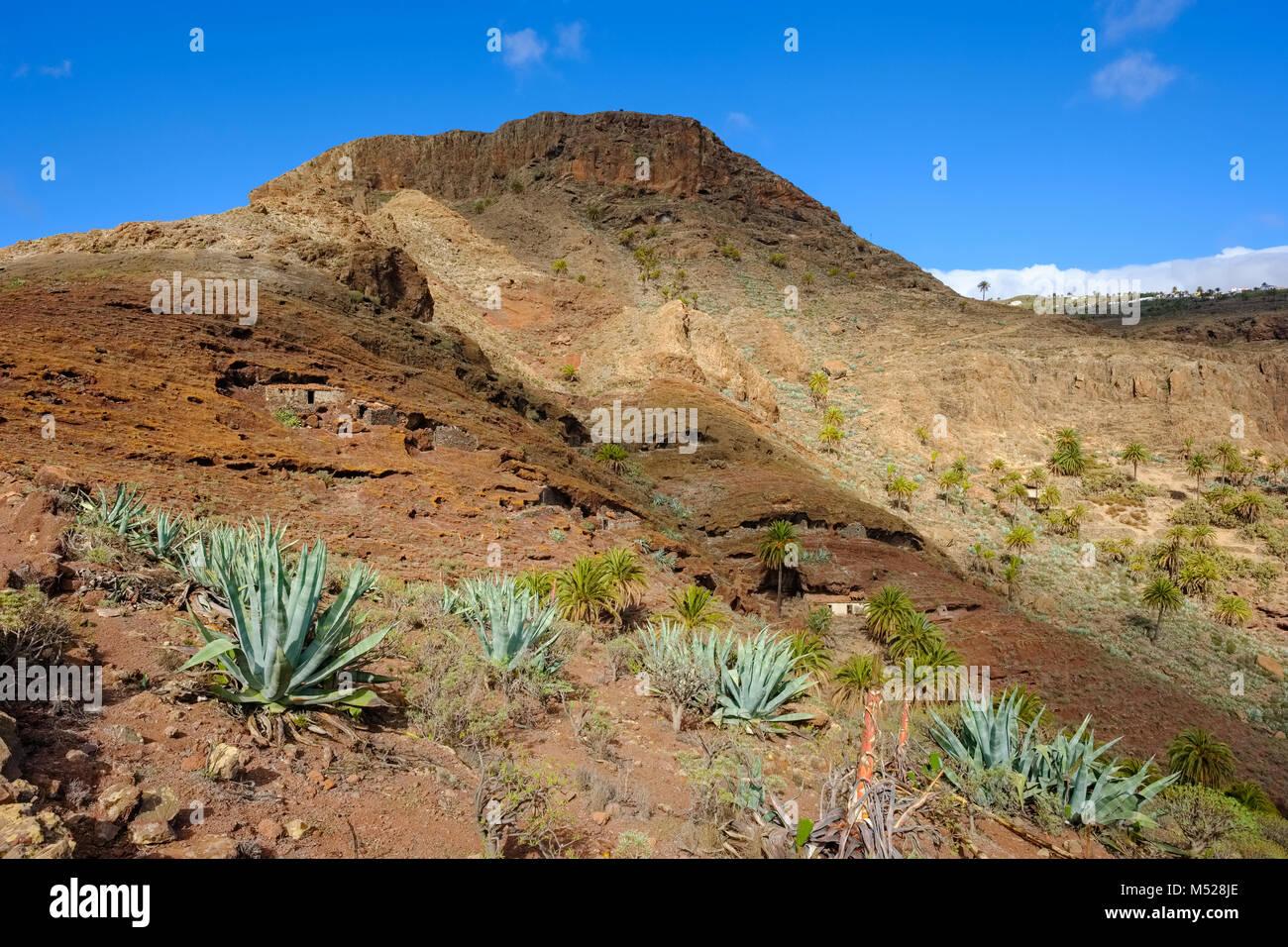 Ancient cave dwelling on Calvario Mountain,Alajero,La Gomera,Canary Islands,Spain - Stock Image