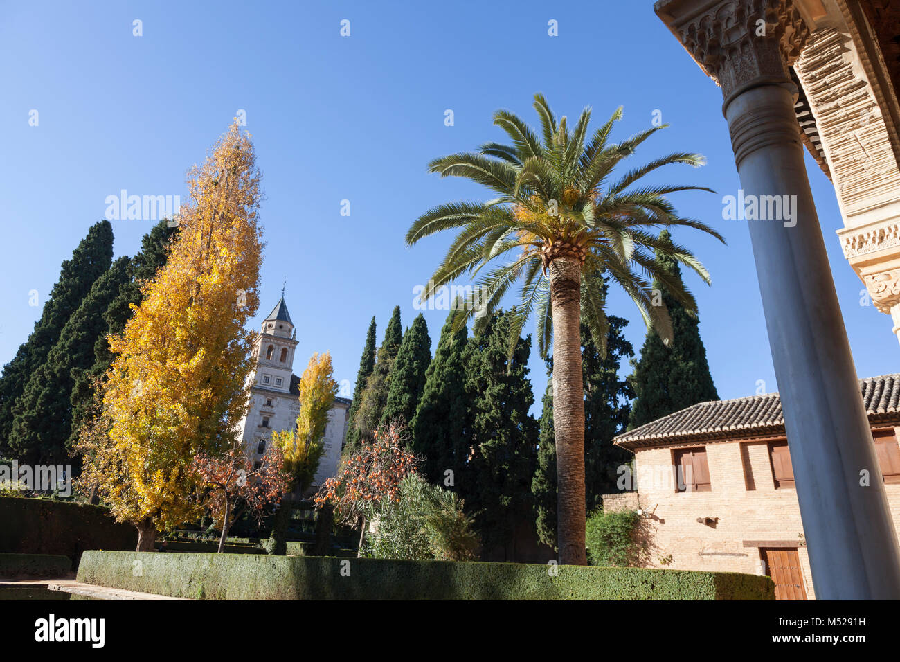 Granada, Spain: Jardines del Partal at the Torre de las Damas in the Alhambra Palace and Fortress. - Stock Image