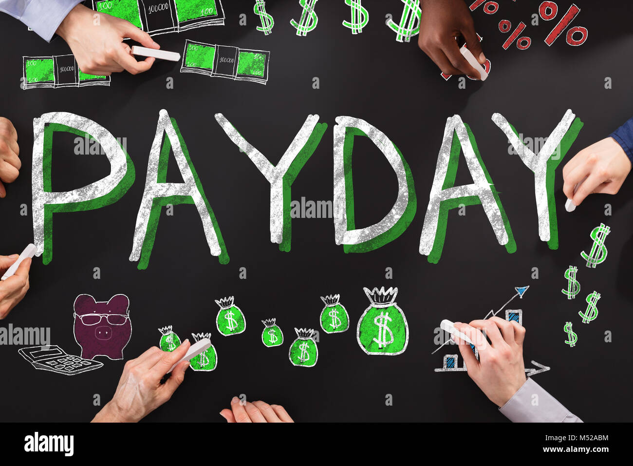 Group Of People Drawing Payday Employee Compensation - Stock Image